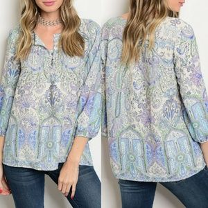 Ivory Lilac Green Print Top {Shop The Trends}